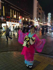 中洲まつりで花魁仮装の平野綾菜