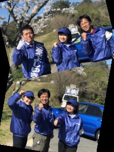 県議会議員選挙活動中の候補とウグイス嬢の平野綾菜とウグイス嬢の大石麻美と運動員