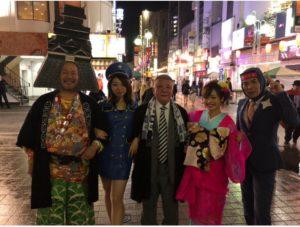 中州まつり花魁仮装の平野綾菜とheartfullブルー衣装の吉田知世