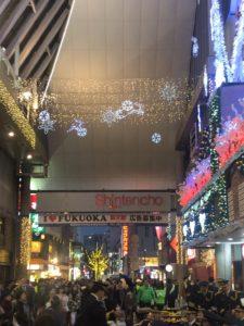 福岡県警察年末の交通安全キャンペーンの新天町の様子