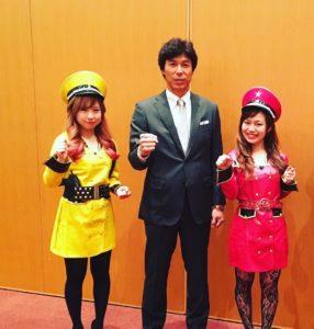 福岡県交通安全県民大会でホークス秋山選手と、はーとふるメンバー舟木美純と平野綾菜